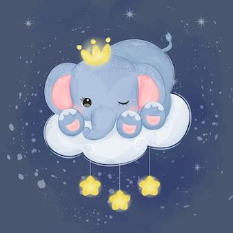 Ilustração de elefante adorável bebê em aquarela