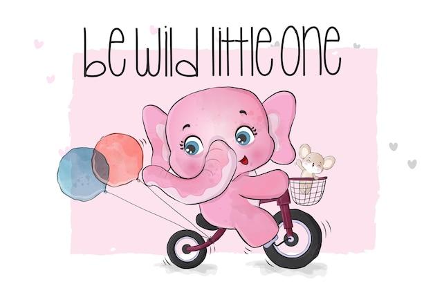 Ilustração de elefante animal fofo andando de bicicleta