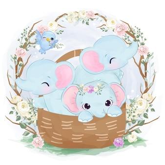 Ilustração de elefante bebê fofo brincando juntos
