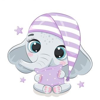 Ilustração de elefante bebê fofo.