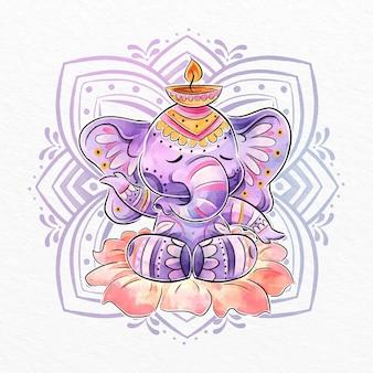 Ilustração de elefante diwali em aquarela