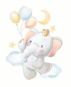 Ilustração de elefante e balões bonito dos desenhos animados