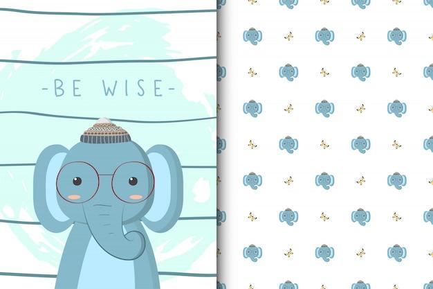Ilustração de elefante fofo com padrão sem emenda