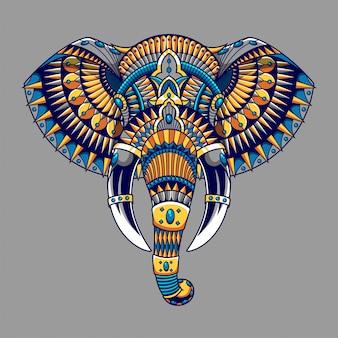 Ilustração de elefante, ilustração colorida zentangle