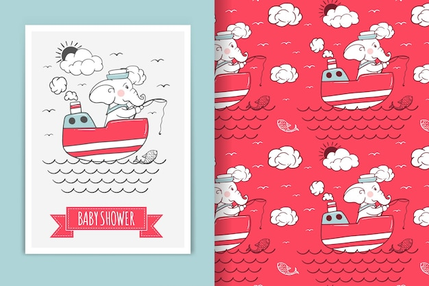 Ilustração de elefante marinheiro e padrão sem emenda