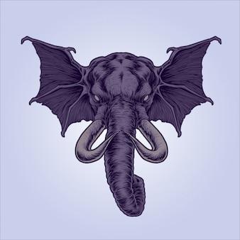 Ilustração de elefante mítico