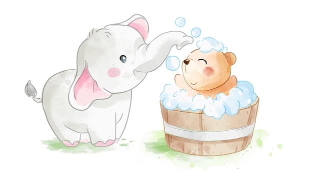 Ilustração de elefante pequeno tomando banho de urso amigo em banheira de madeira