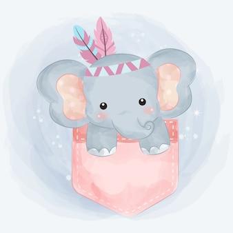 Ilustração de elefante tribal fofo