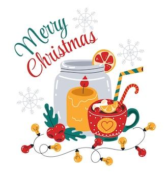 Ilustração de elemento de design de cartaz de panfleto e bebida quente de natal