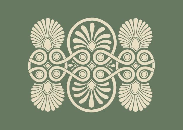 Ilustração de elemento decorativo em vetor grego bege antigo