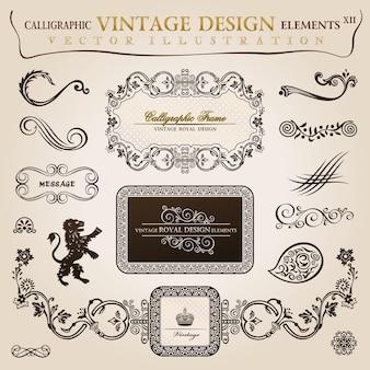 Ilustração de elementos caligráficos vintage heráldico com moldura