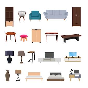 Ilustração de elementos de cenografia de coleção de móveis