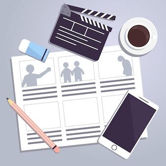 Ilustração de elementos de conceito de storyboard