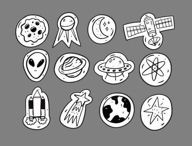 Ilustração de elementos de conjunto de doodle de espaço e alienígena