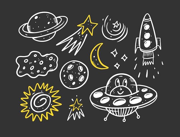 Ilustração de elementos de conjunto de doodle de espaço