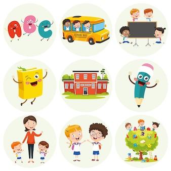 Ilustração de elementos de educação