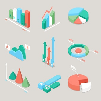 Ilustração de elementos de estatísticas de gráficos e tabelas