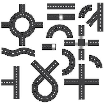 Ilustração de elementos de estrada isolada no branco