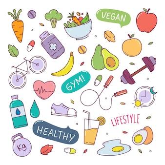 Ilustração de elementos de mão desenhada doodle fofo estilo de vida saudável