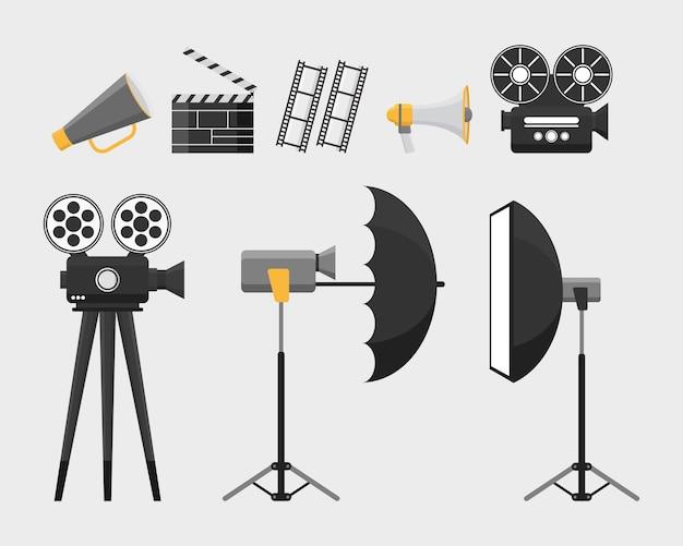 Ilustração de elementos de objeto de equipamento de ferramentas de filme de cinema