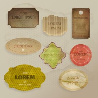 Ilustração de elementos de papel scrapbooking de rótulos vintage ou etiquetas com quadros de estilo retro
