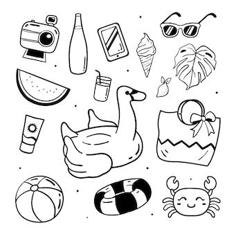 Ilustração de elementos de praia verão