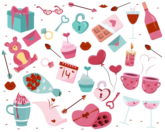 Ilustração de elementos do dia dos namorados desenhada à mão