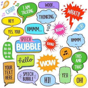 Ilustração de elementos do discurso bolhas