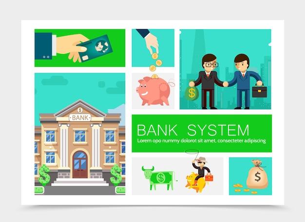 Ilustração de elementos financeiros de negócios planos