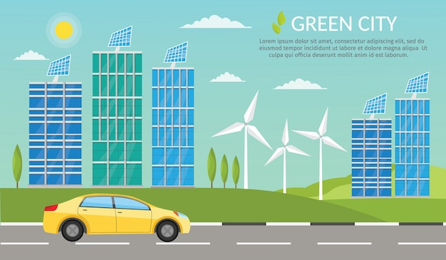 Ilustração de elementos infográfico carro ecologia e riscos ambientais e poluição.