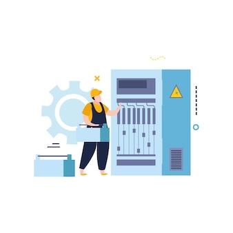 Ilustração de eletricidade e iluminação em estilo simples com personagem de eletricista consertando gabinete de fonte de alimentação