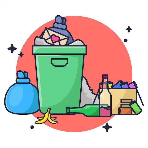 Ilustração de eliminação de lixo