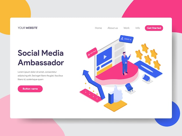 Ilustração de embaixador de mídia social para páginas da web