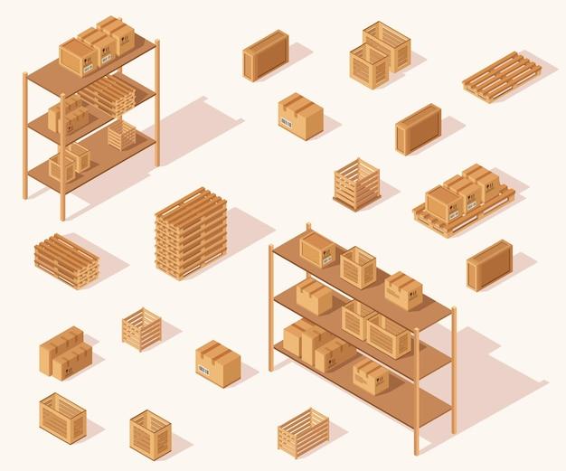 Ilustração de embalagem de caixa marrom de reciclagem de coleção