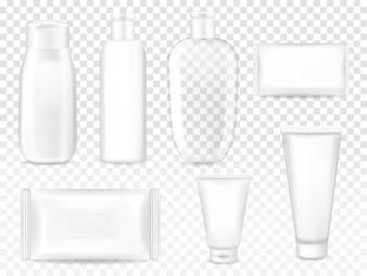 Ilustração de embalagens cosméticas de xampu ou loção garrafa de plástico, tubo de creme facial ou sabão