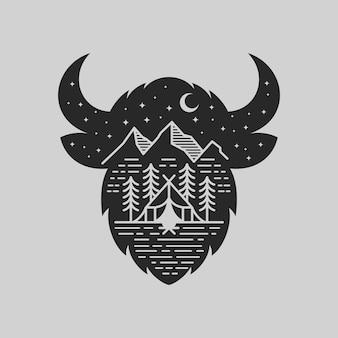 Ilustração de emblema de aventura de montanha bisonte