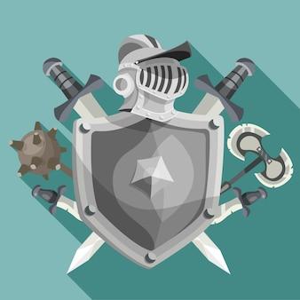 Ilustração de emblema de cavaleiro