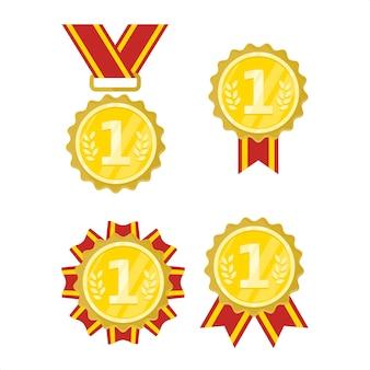 Ilustração de emblema de conquista de medalha de ouro