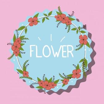 Ilustração de emblema de flores