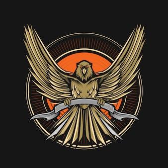 Ilustração de emblema de vetor de águia
