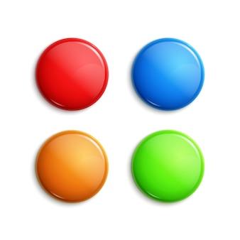 Ilustração de emblemas brilhantes coloridos em branco