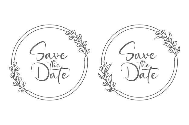 Ilustração de emblemas de casamento de forma circular desenhada à mão para o conceito abstrato e decoração