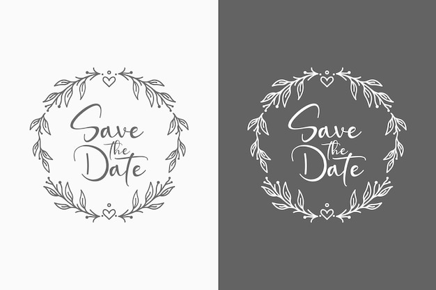 Ilustração de emblemas de casamento floral adorável para conceito abstrato e decoração