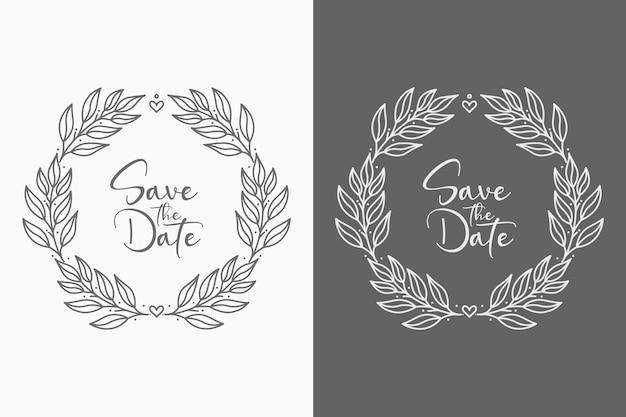 Ilustração de emblemas de casamento floral com monograma desenhado à mão