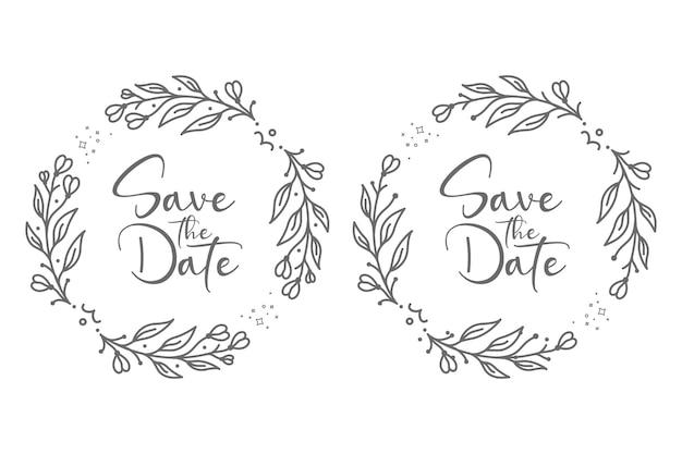 Ilustração de emblemas de casamento floral natural e bonito para o conceito abstrato e decoração