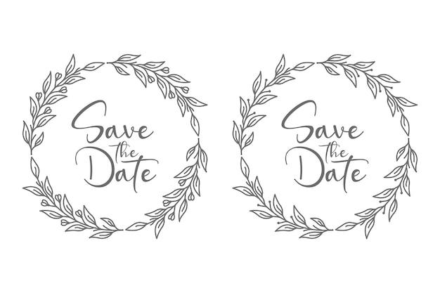 Ilustração de emblemas de casamento floral para conceito abstrato e decoração