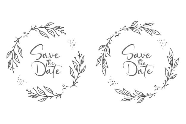 Ilustração de emblemas de casamento floral