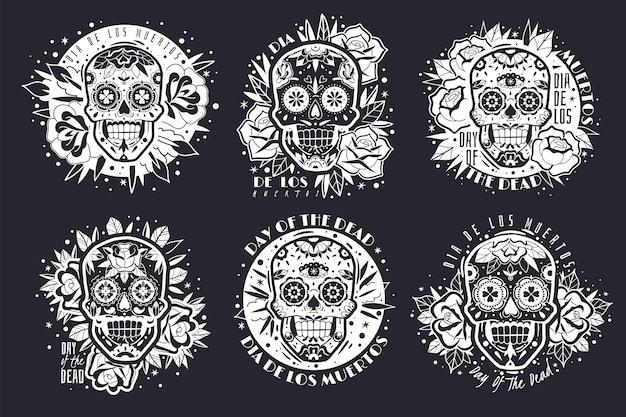 Ilustração de emblemas de caveiras mexicanas