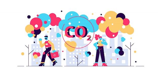 Ilustração de emissões de co2. conceito de pessoa plana pequena poluição do ar. perigo ambiental das fábricas da indústria de eletricidade. efeito de aquecimento com efeito de estufa na cidade. fumaça tóxica do escapamento da chaminé