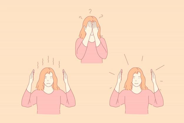 Ilustração de emoções diferentes